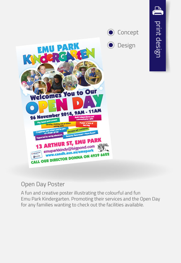APAP Events Event Management and Graphic Design Rockhampton Emu Park Kindergarten Open Day Poster