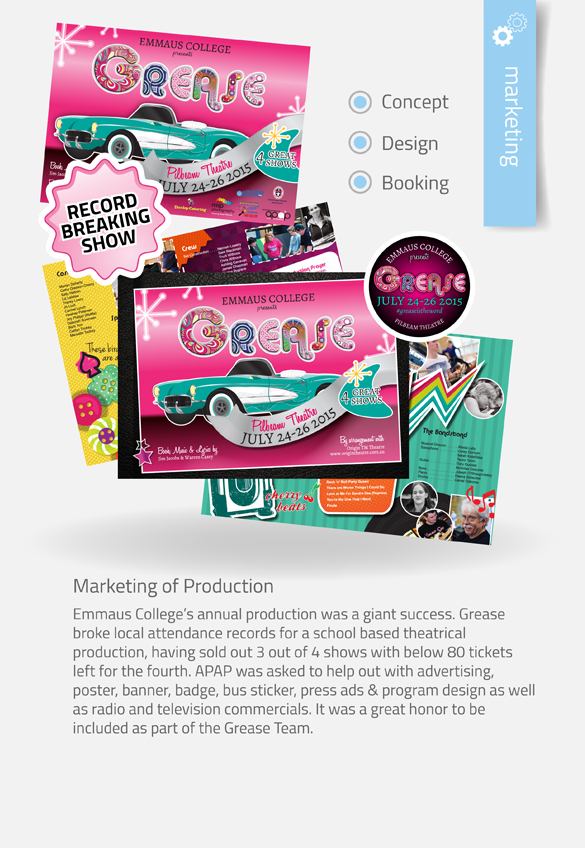 APAP Events Event Management and Graphic Design Rockhampton Grease Marketing Package