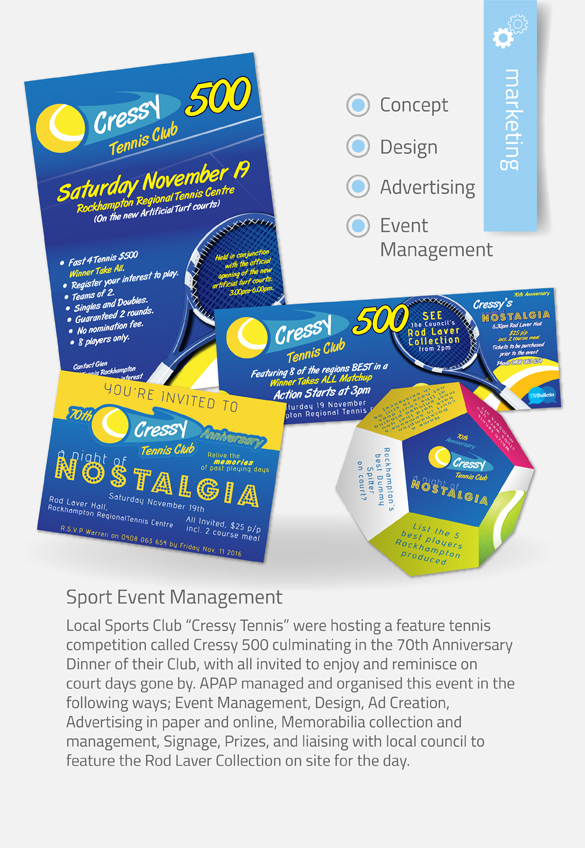 APAP Events Event Management and Graphic Design Rockhampton Night of Nostalgia Design Package