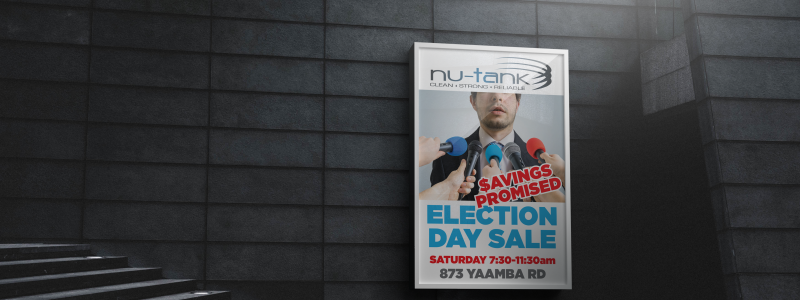 APAP Events Event Management and Graphic Design Rockhampton Nu-Tank Election Day Sale Poster