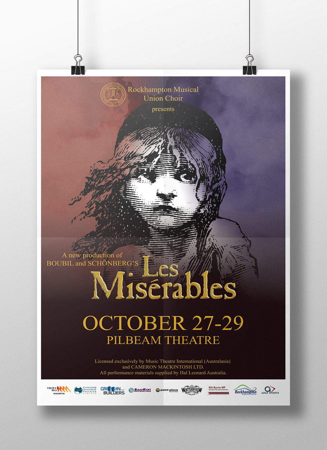 APAP Events Event Management and Graphic Design Rockhampton Les Miserable Poster