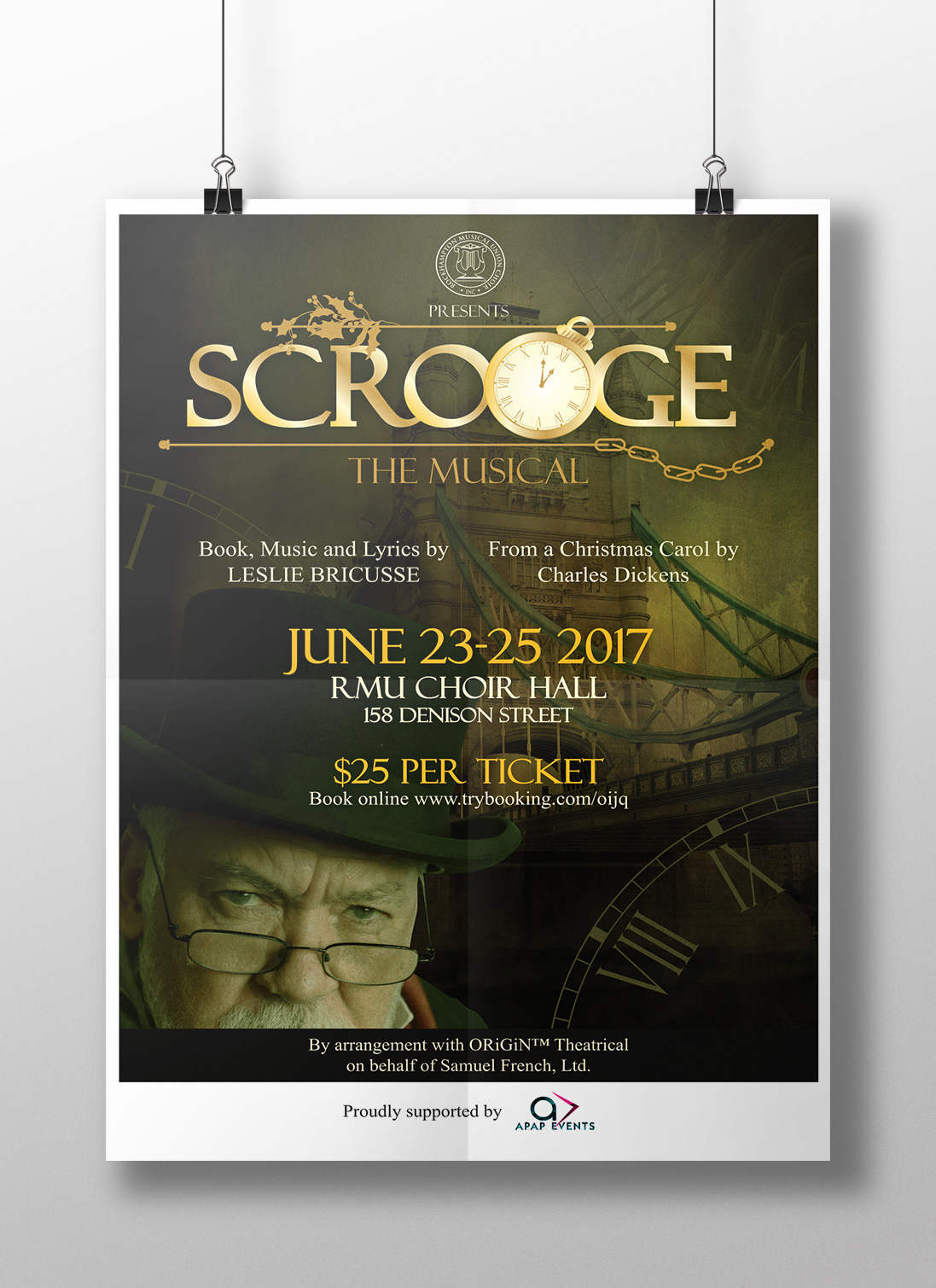 APAP Events Event Management and Graphic Design Rockhampton Scrooge The Musical Poster and Logo design