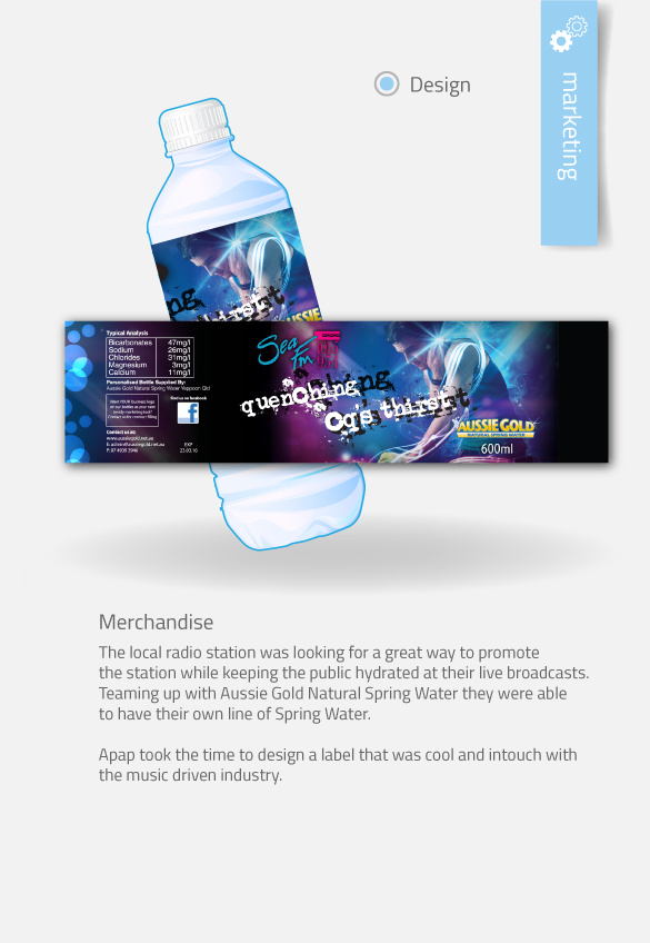 APAP Events Event Management and Graphic Design Rockhampton SeaFm Water Labels Design