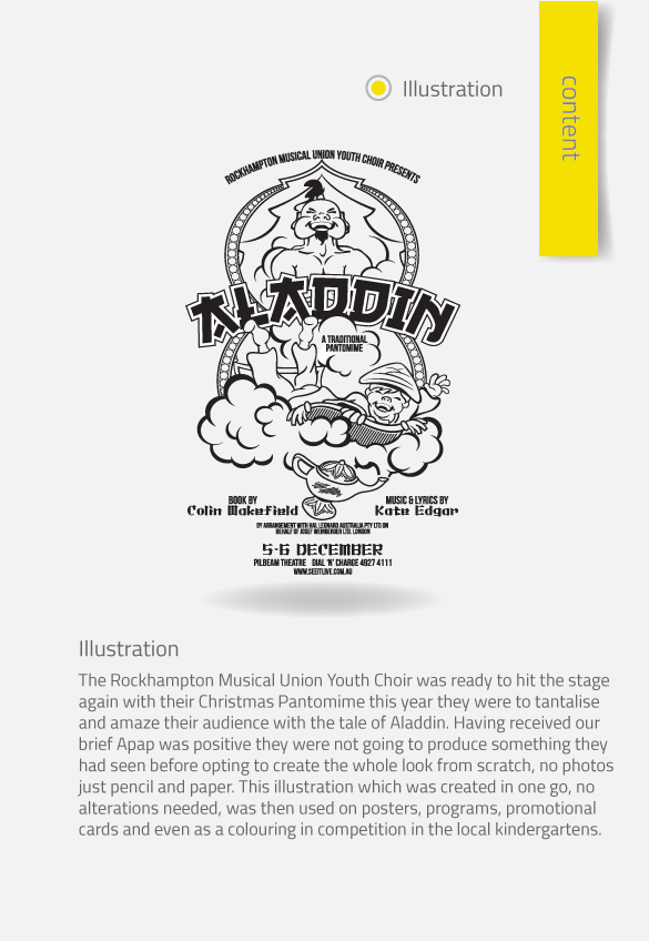 APAP Events Event Management and Graphic Design Rockhampton Aladdin Poster and Logo Design Custom Illustration