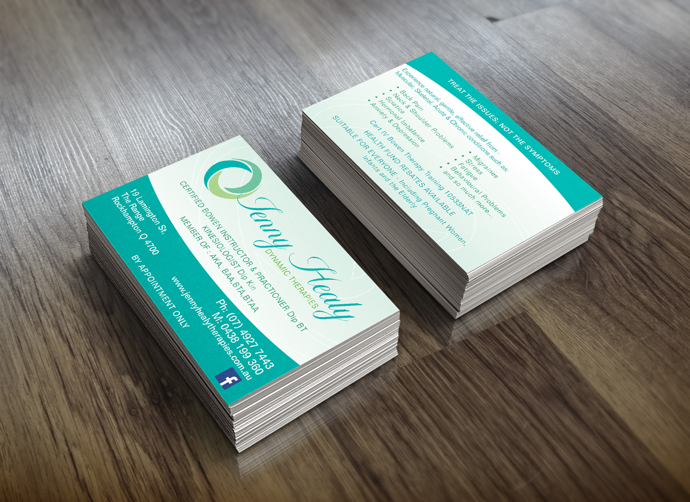 APAP Events Event Management and Graphic Design Rockhampton Jenny Healy Therapies Business Cards