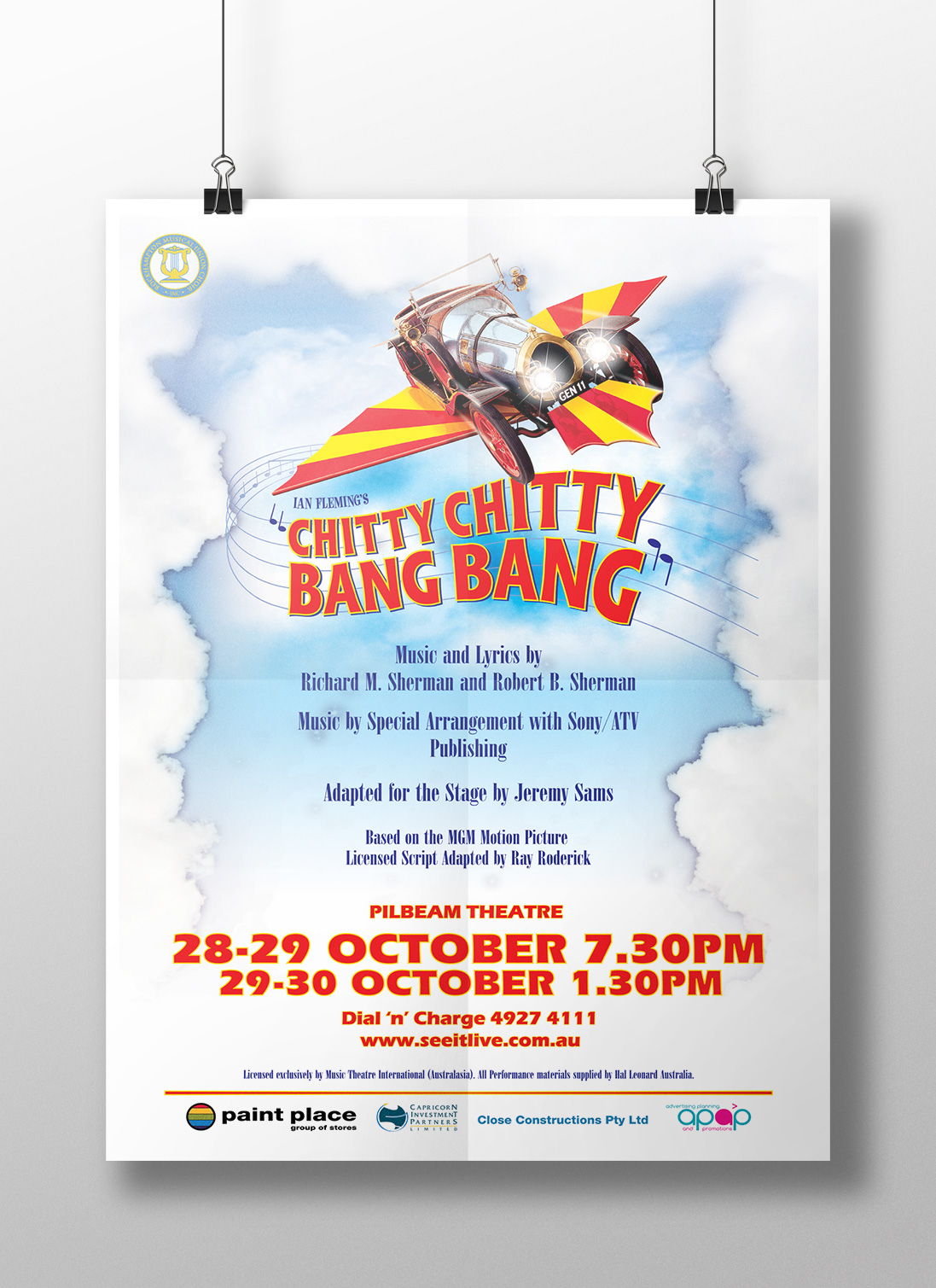 APAP Events Event Management and Graphic Design Rockhampton Chitty Chitty Bang Bang Poster Design